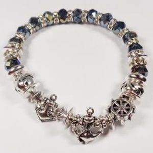 Jewelry - NAUTICAL SHIPS WHEEL AND ANCHORS BLUE BRACELET